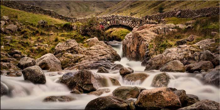 Stockley Bridge Water and Rocks - Canvas Print