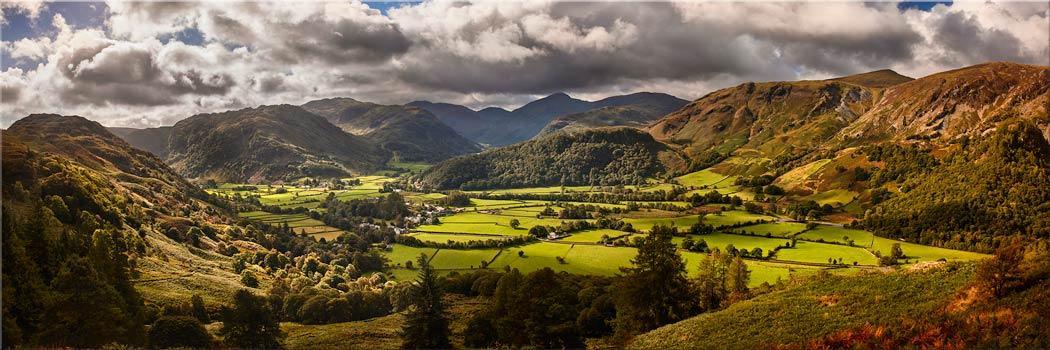 The Borrowdale Valley Panorama - Canvas Print
