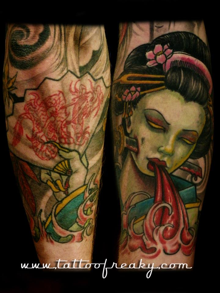 Gaisha and fan Tattoo