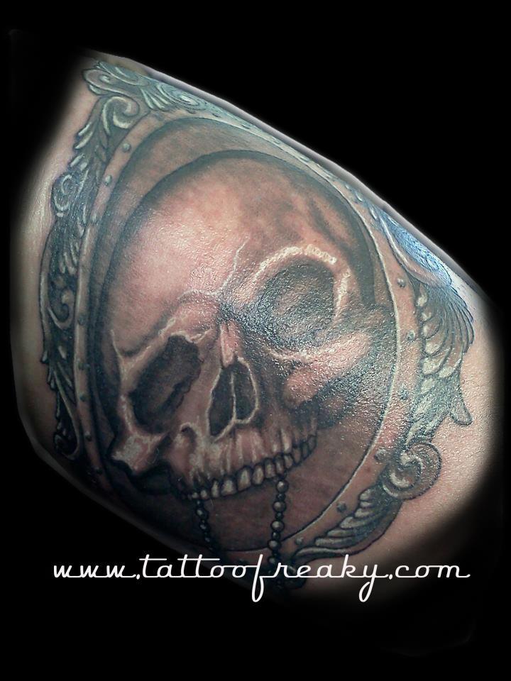 Gothic skull tattoo NZ Tauranga