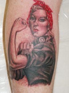 ruby the riveter portrait tattoo Tauranga New Zealand