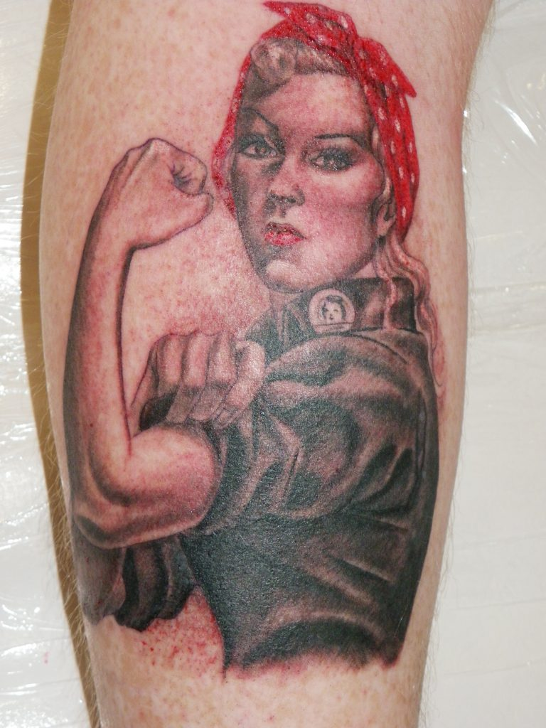 ruby the riveter portrait tattoo Tauranga New Zealand