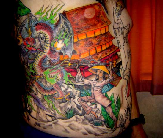 chinaman fight tattoo Tauranga New Zealand