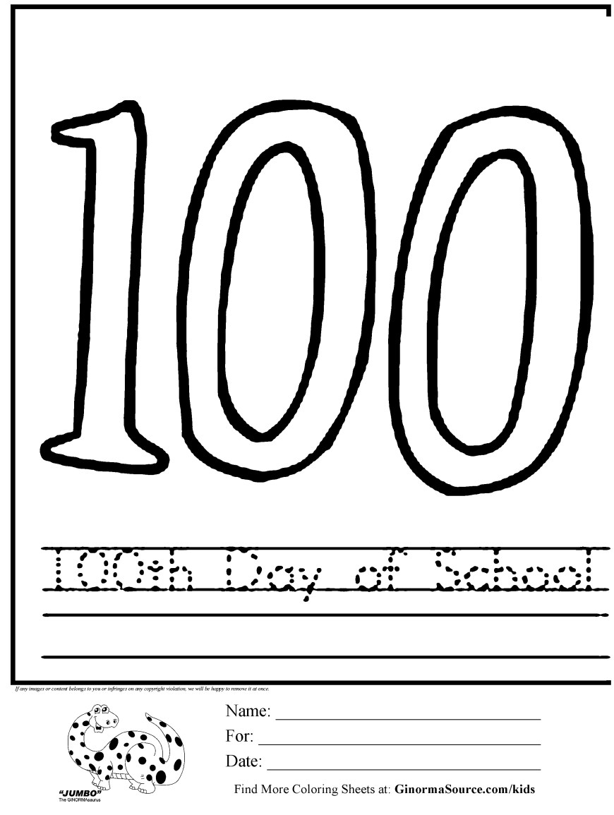 100th Day Of School Coloring Pages 100th Day Of School Coloring Pages Coloring Pages 100 Days Of