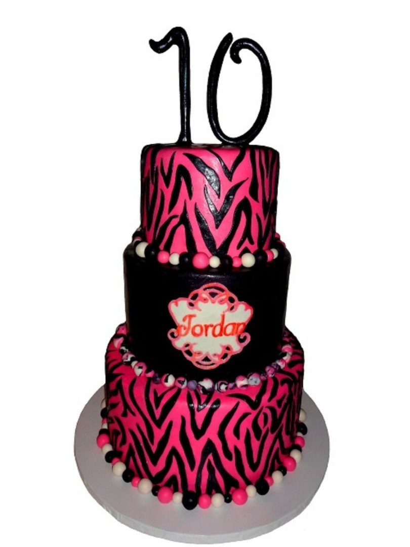 10Th Birthday Cake Pink Zebra Striped 10th Birthday Cake Cakecentral