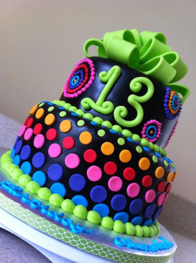 13Th Birthday Cake 13th Birthday Girl Neon And Neon Blue Purple Pink Orange And