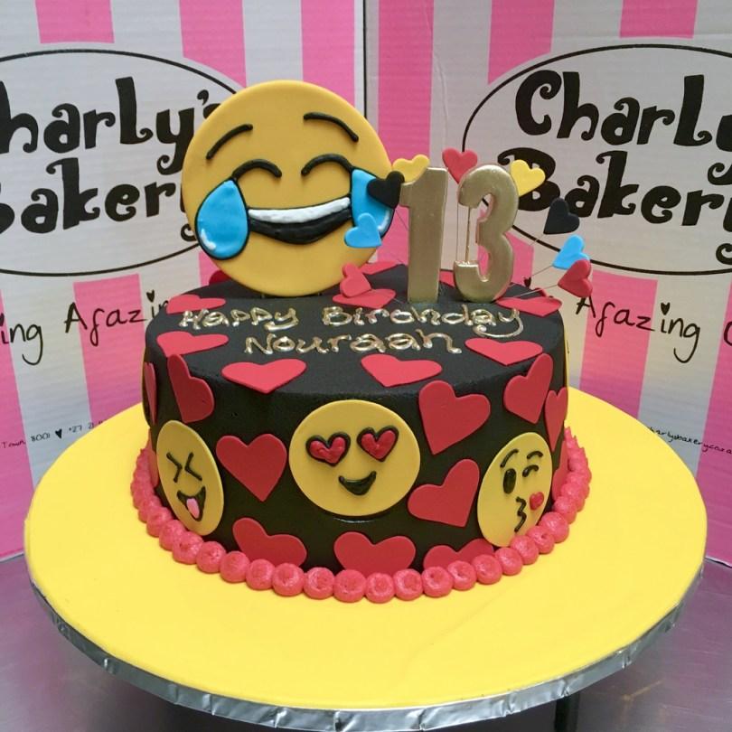 13Th Birthday Cake Emoji Themed Single Tier 13th Birthday Cake Iced In Black Flickr