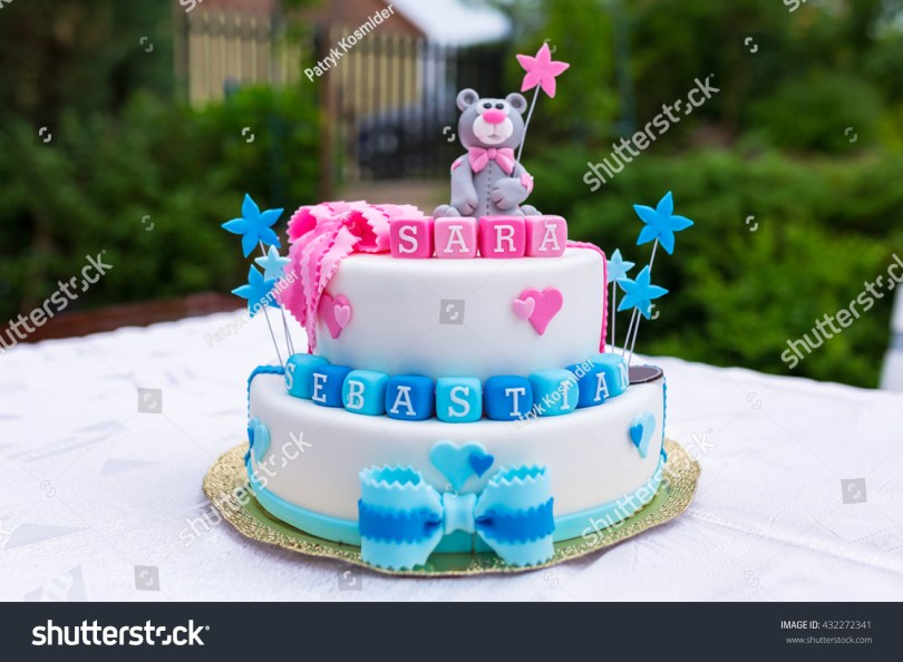1St Birthday Cakes For Boys Birthday Cake Ba Boy Girl Twins Stock Photo Edit Now 432272341