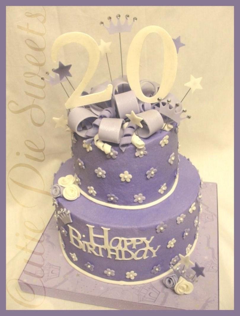 20Th Birthday Cake 20th Birthday Cake Purple White Cakecentral