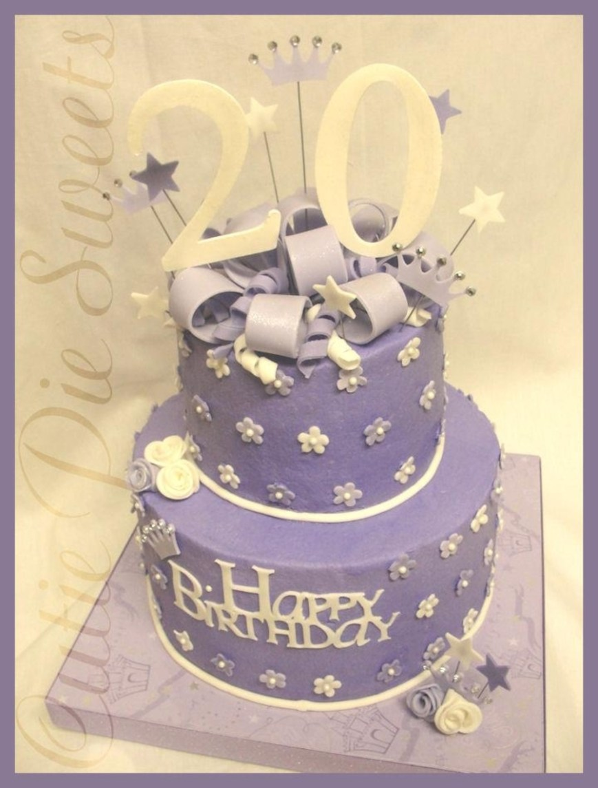 20Th Birthday Cake 20th Birthday Cake Purple White Cakecentral