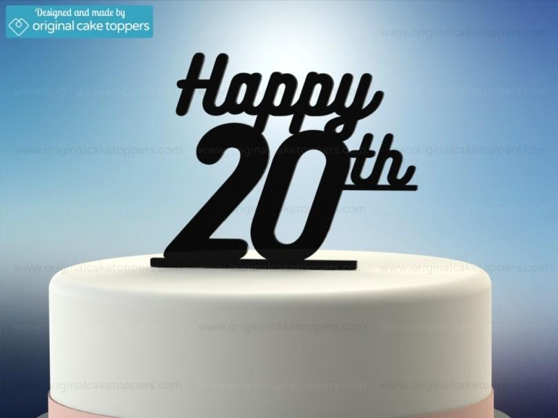 20Th Birthday Cake Happy 20th Black 20th Birthday Cake Topper Original Cake Toppers