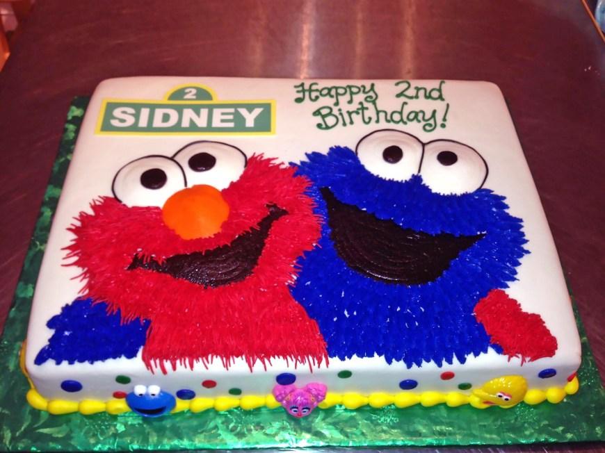 2Nd Birthday Cake 2nd Birthday Cake Cookie Monster Elmo Kids Sesame Street Boys