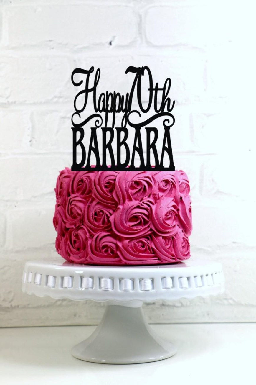 70Th Birthday Cake Ideas Happy 70th Birthday Cake Topper Personalized With Name And Age