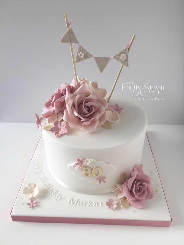 70Th Birthday Cake Ideas Vintage Style 80th With Sugar Roses And Bunting Topper