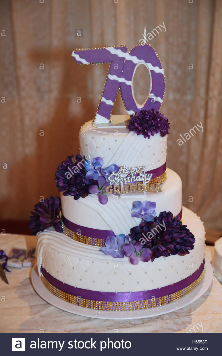 70Th Birthday Cakes Fancy Three Tier 70th Birthday Cake Stock Photo 124274299 Alamy