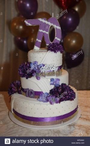 70Th Birthday Cakes Fancy Three Tier 70th Birthday Cake Stock Photo 187280941 Alamy