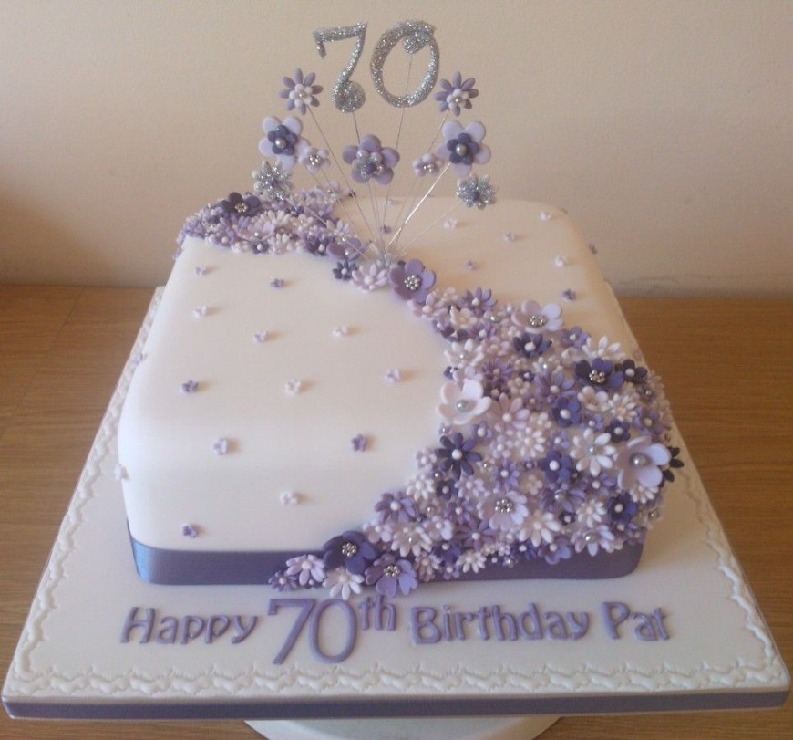 70Th Birthday Cakes Lilac Flower Cake To Celebrate A 70th Birthday 90th Birthday
