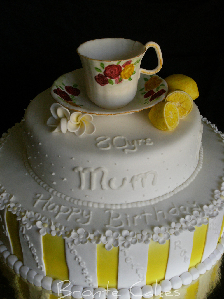 80Th Birthday Cake Ideas Tea Cup 80th Birthday Cake Huge 12inch Base With 9inch Top Flickr