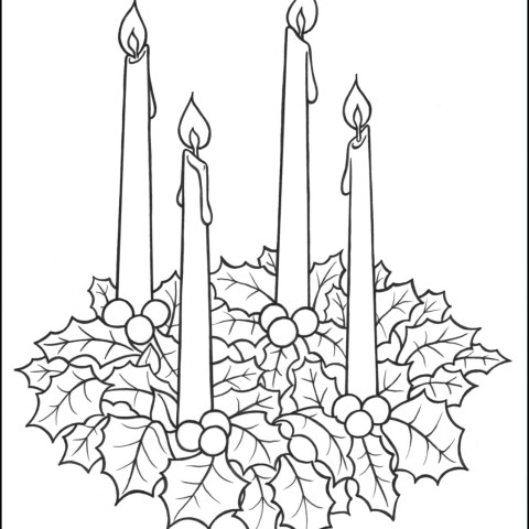 Advent Wreath Coloring Page Advent Wreath Coloring Page