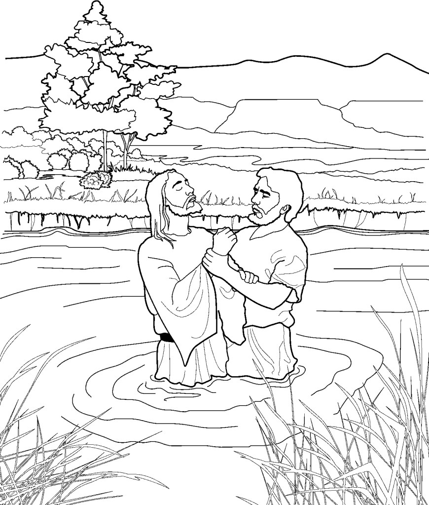 Baptism Coloring Pages John Baptizing Jesus Coloring Page