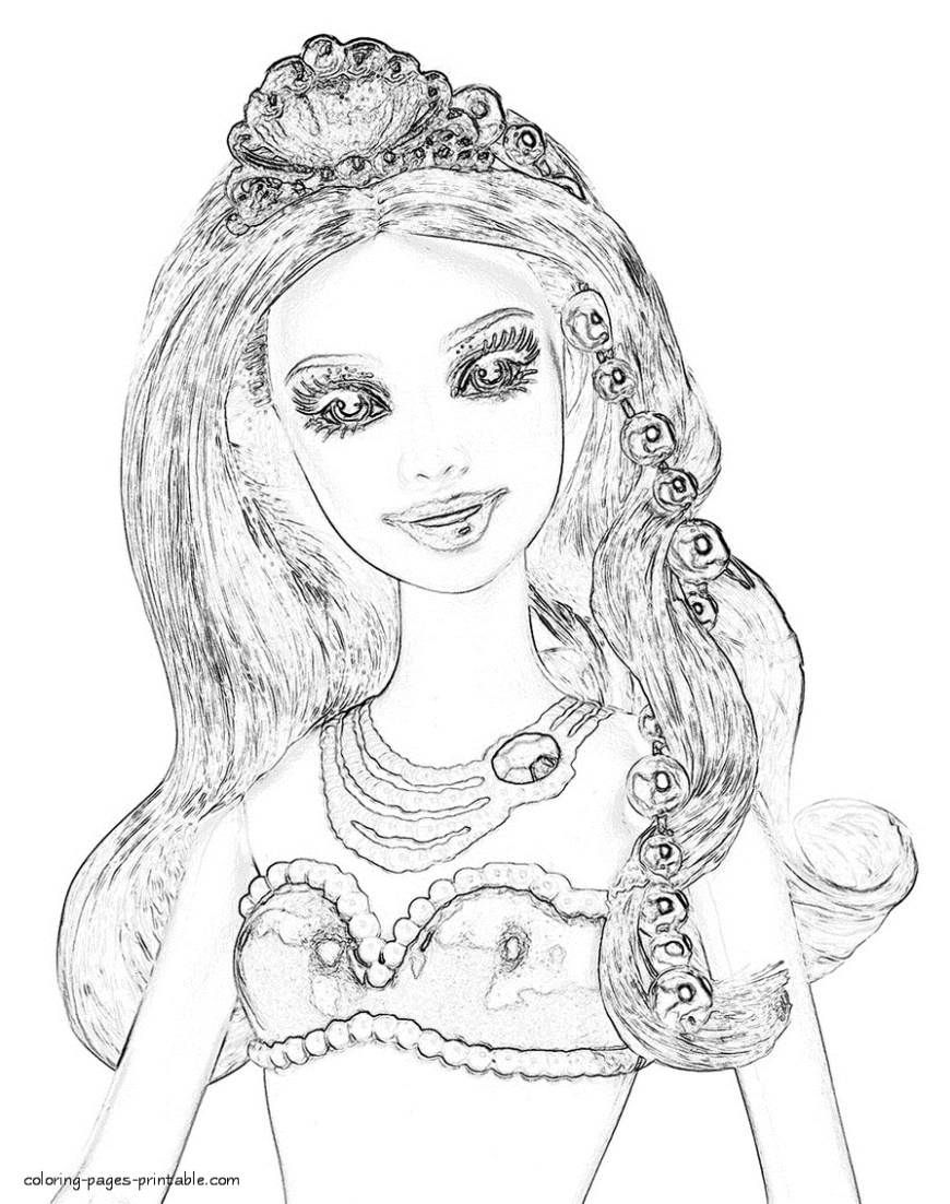 Barbie Princess Coloring Pages Princess Coloring Pages With Free Also Book Kids Image Number