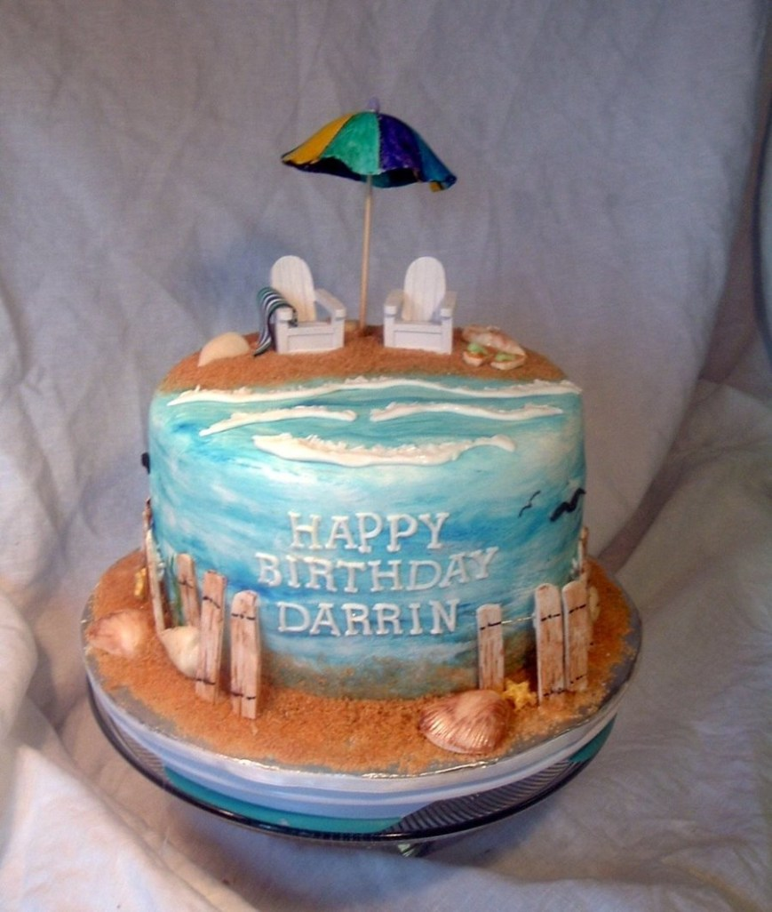 Beach Birthday Cakes Beach 40th Birthday Cakecentral