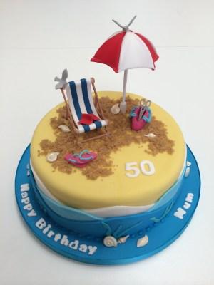Beach Birthday Cakes Cute Beach Themed Cake Complete With Sun Umbrella Deckchair And Of