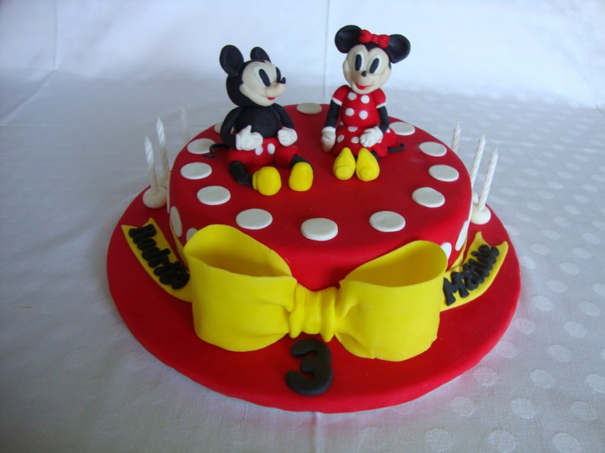 Birthday Cake Design Mickey Amp Minnie Birthday Cake Twins My First Fondant Cake Design
