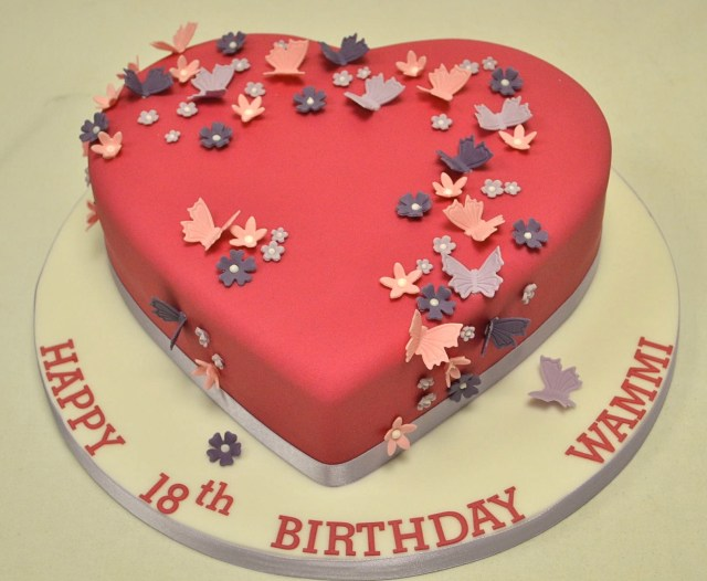 Birthday Cake For Girls Heart Shaped Blossom And Butterfly 18th Birthday Cake Girls