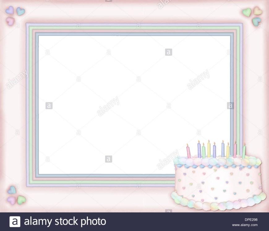 Birthday Cake Photo Frame A Pink Frame With A Birthday Cake Stock Photo 65462692 Alamy