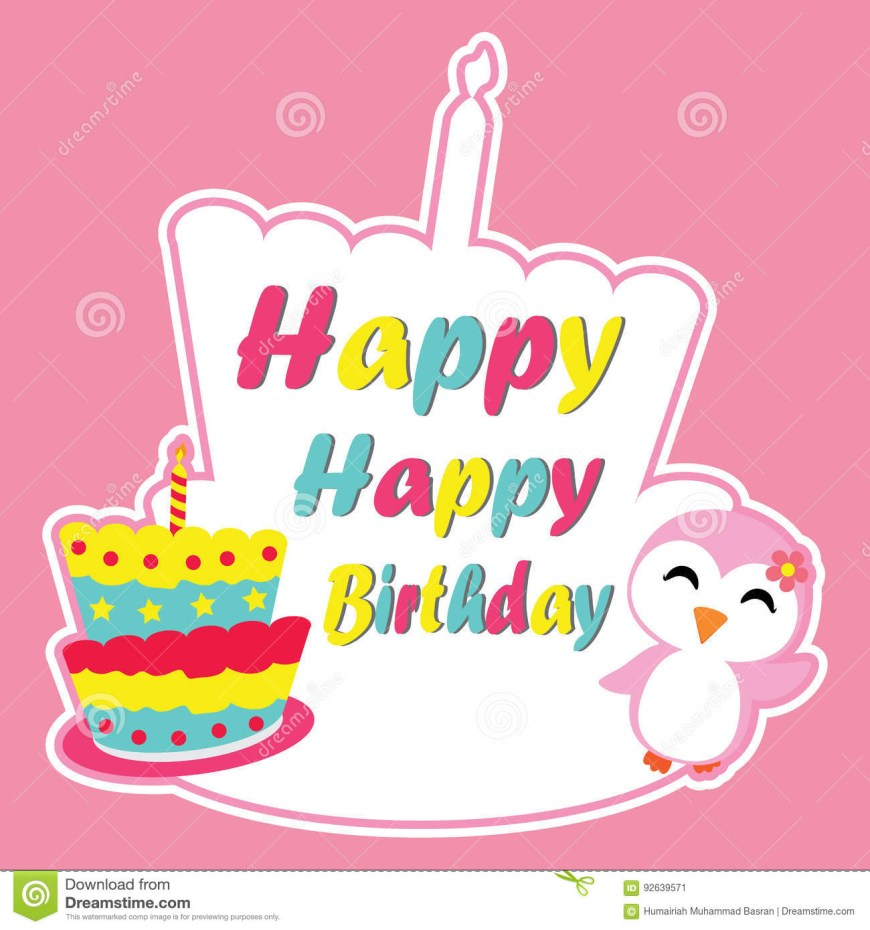 Birthday Cake Photo Frame Cute Penguin Girl Is Happy On Birthday Cake Frame Vector Cartoon