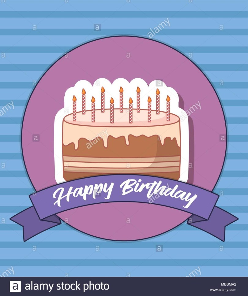 Birthday Cake Photo Frame Happy Birthday Design With Birthday Cake With Candles Icon Over