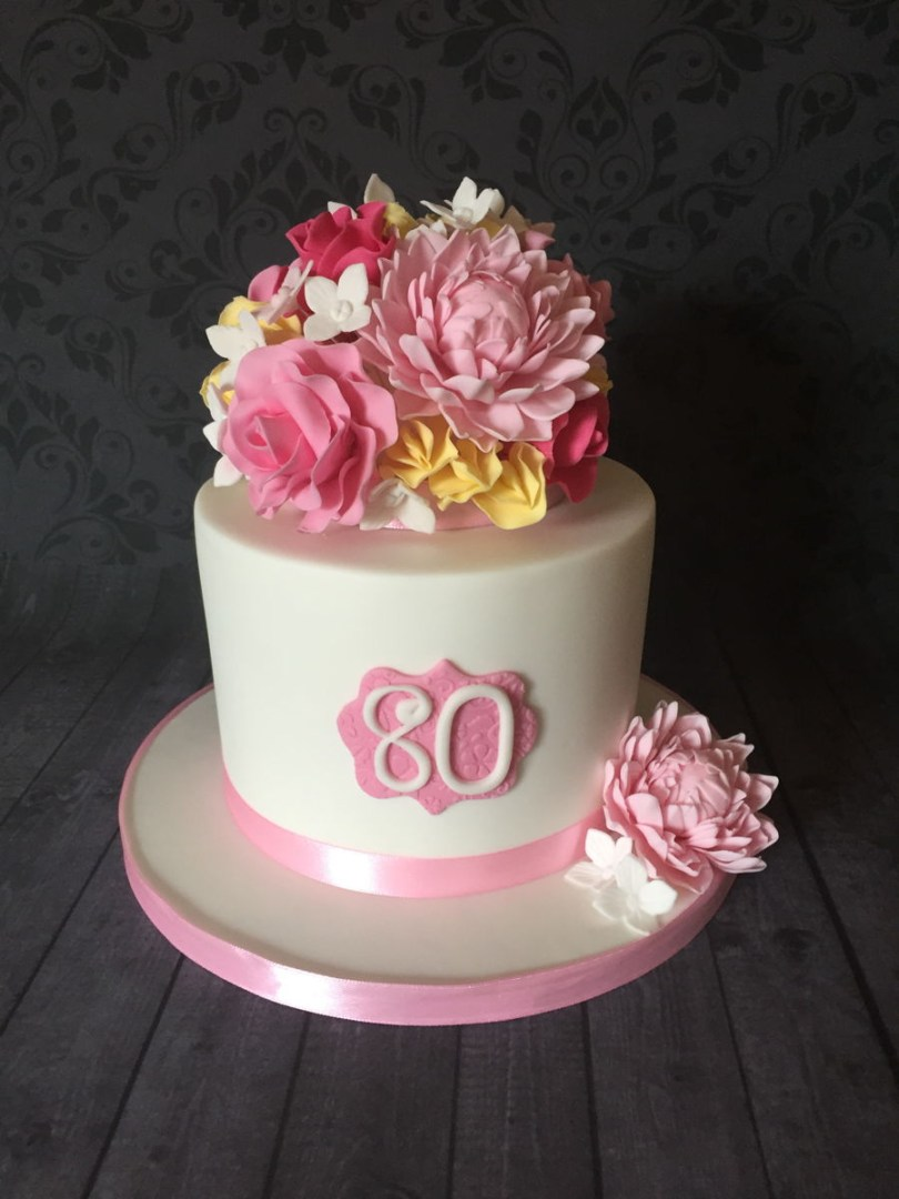 Birthday Cakes With Flowers 80th Birthday Cake With Sugar Flowers Cakecentral