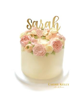Birthday Cakes With Flowers Korean Buttercream Flower Wreath Birthday Cake With Gold Cake Topper