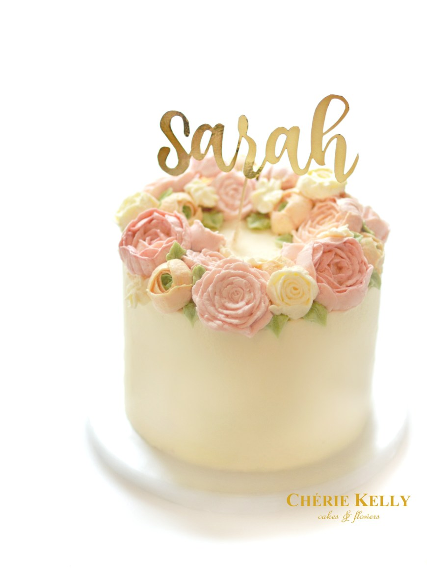 Birthday Cakes With Flowers Korean Buttercream Flower Wreath Birthday Cake With Gold Cake Topper