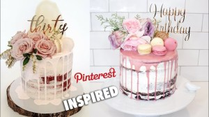 Birthday Cakes With Flowers Semi Naked Drip Birthday Cake With Flowers Pinterest Inspired