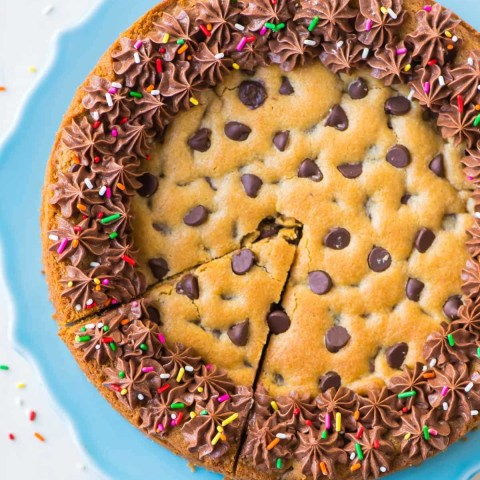 Birthday Cookie Cake Chocolate Chip Cookie Cake Recipe With Chocolate Fudge Frosting