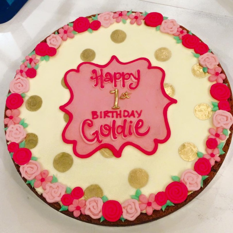Birthday Cookie Cake Goldie First Birthday Cookie Cake Hayley Cakes And Cookieshayley