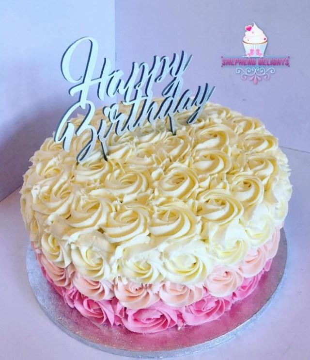 Buttercream Birthday Cakes Rosette Buttercream Birthday Cake Teenage Adult Birthday Cakes