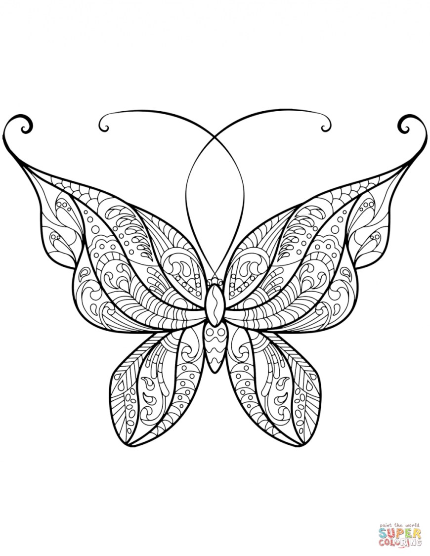 Butterflies Coloring Pages Coloring Page Butterfly Coloring Pages Free Zentangle Page 41
