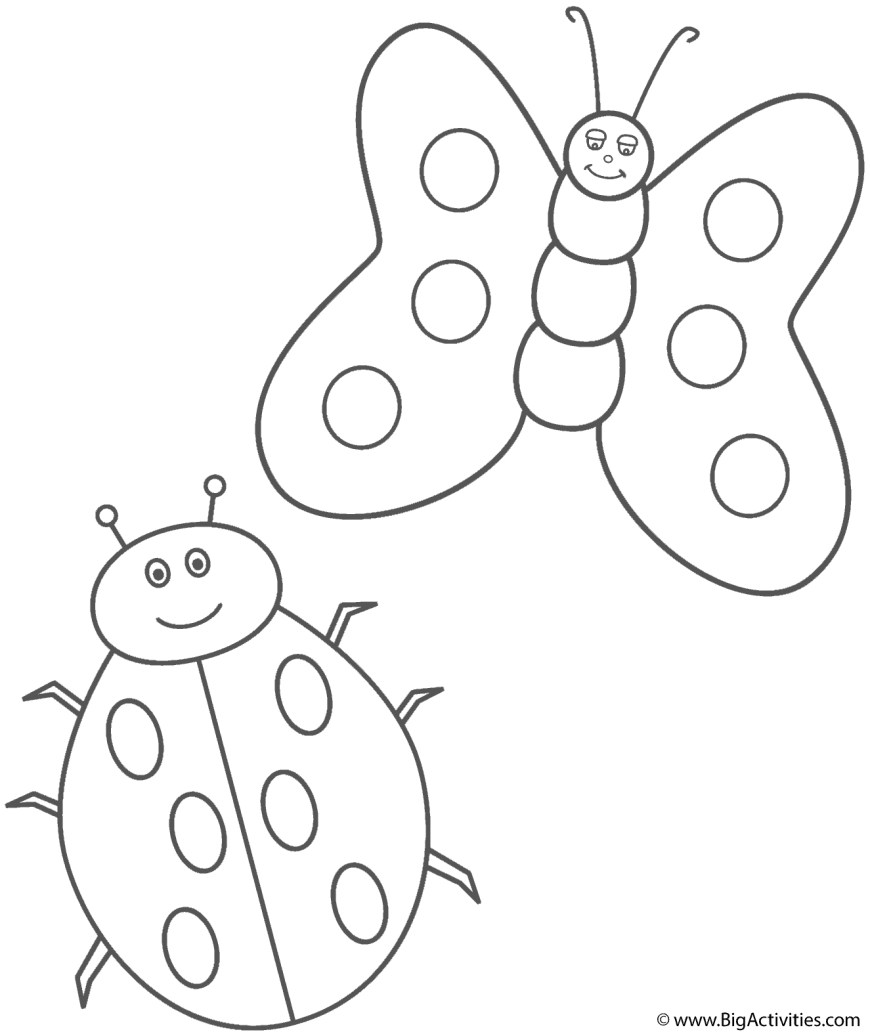 Butterflies Coloring Pages Ladybug And Butterfly Coloring Page Insects