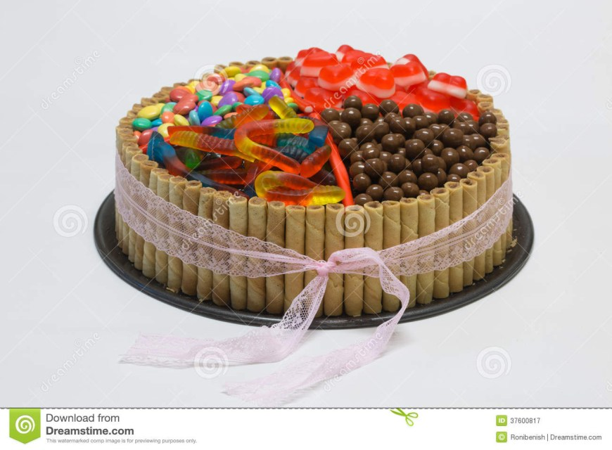 Candy Birthday Cake Chocolate Birthday Cake With Candy On Top Stock Image Image Of