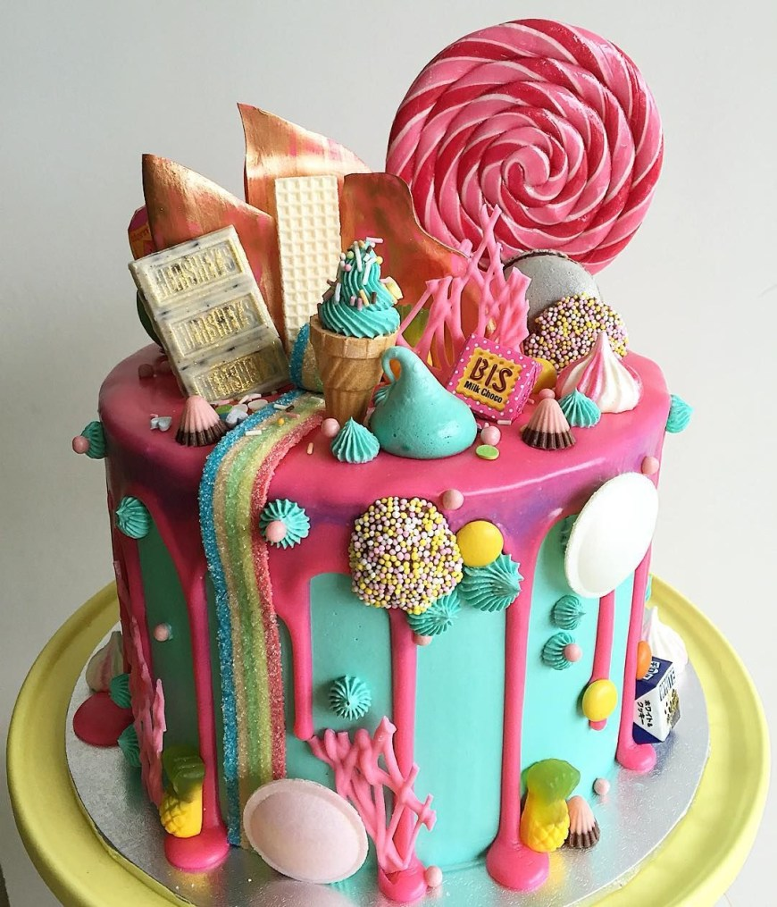 Candy Birthday Cake Pin Bobo On Let Em Eat Cake Cake Birthday Cake Drip Cakes