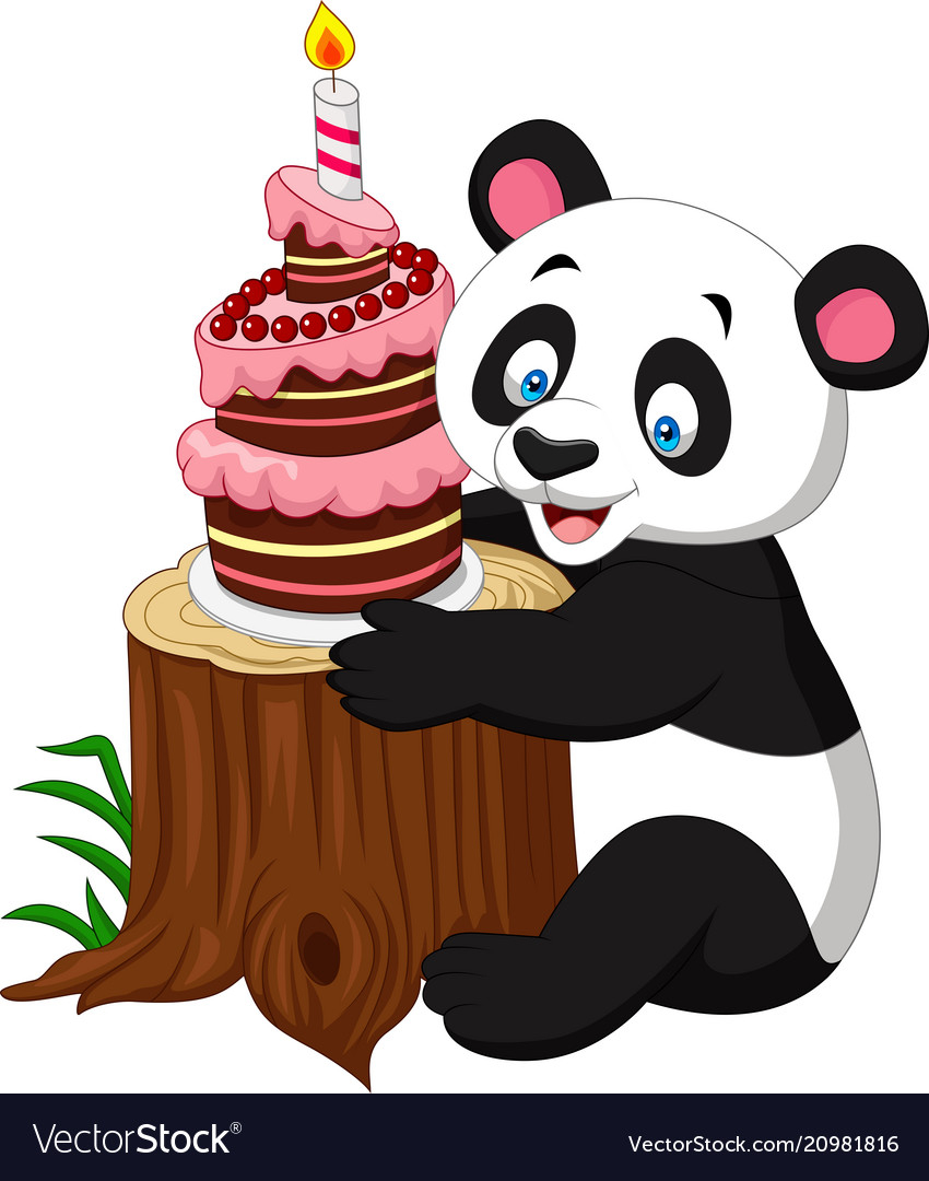 Cartoon Birthday Cake Cartoon Funny Panda With Birthday Cake Royalty Free Vector