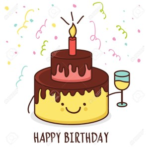 Cartoon Birthday Cake Cute Cartoon Smiling Cake With Glass Of Champagne Vector
