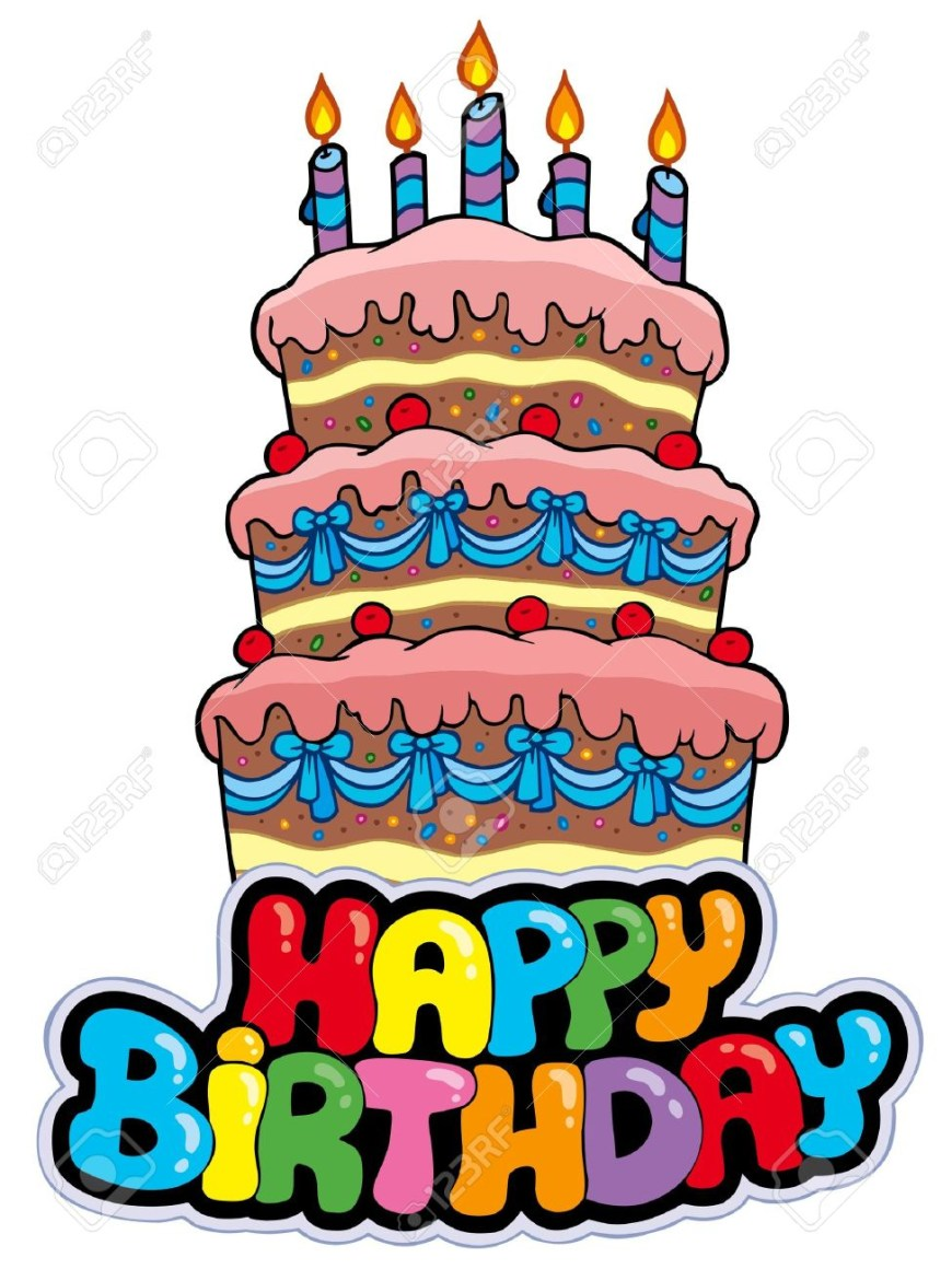 Cartoon Birthday Cake Happy Birthday Sign With Tall Cake Illustration Royalty Free