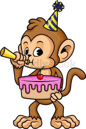 Cartoon Birthday Cake Monkey Holding Birthday Cake Cartoon Vector Clipart Friendlystock