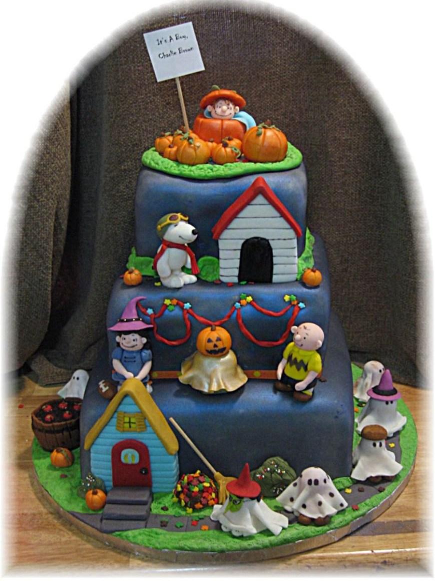 Charlie Brown Birthday Cake Its A Boy Charlie Brown Halloween Birthday Cake Cakecentral