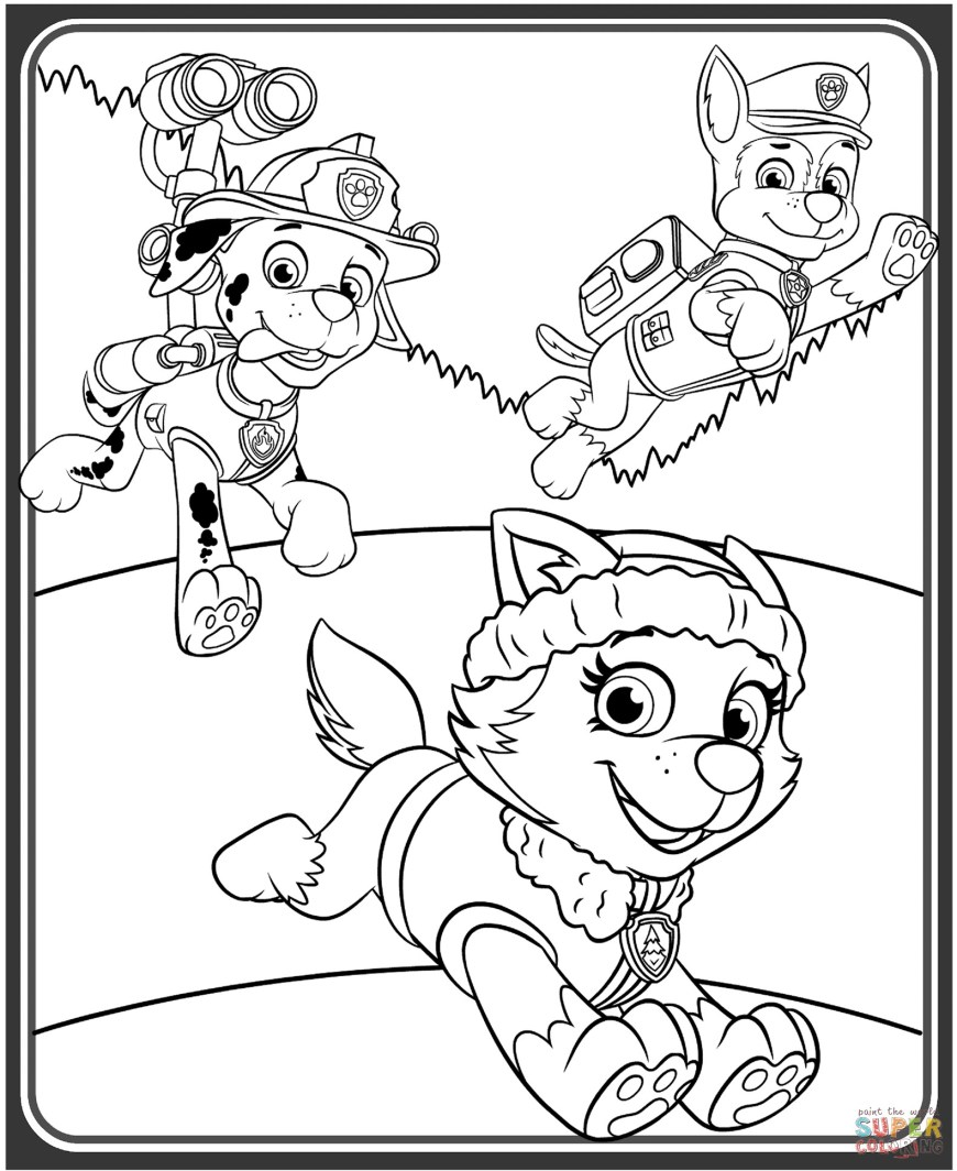 Chase Coloring Page Everest Marshall And Chase Coloring Page Paw Patrol From Pages