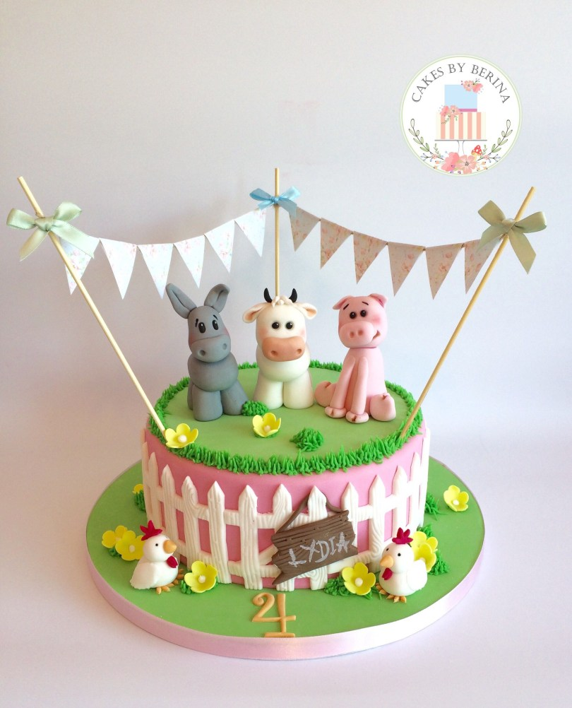 Chicken Birthday Cake Girly Farm Animals Birthday Cake With Edible Cow Donkey Pig And